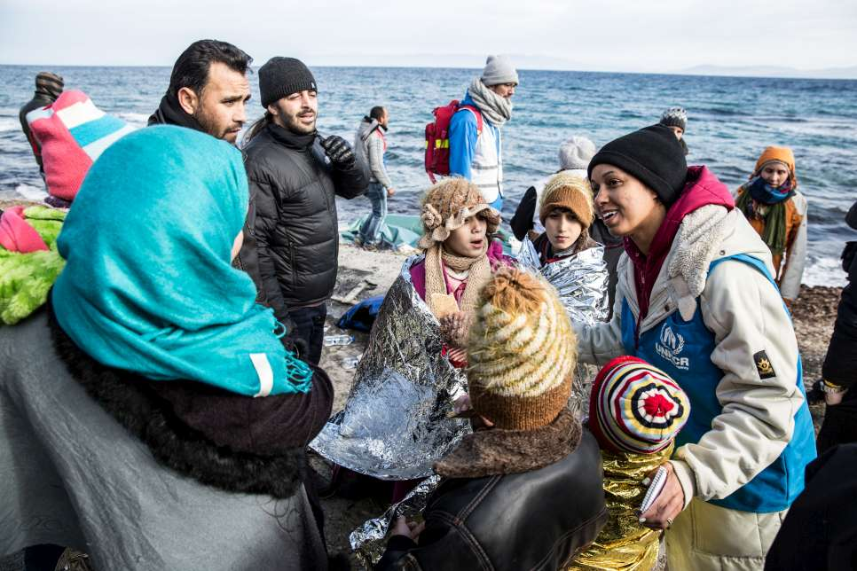 Greece. Refugees recuperate after voyage.