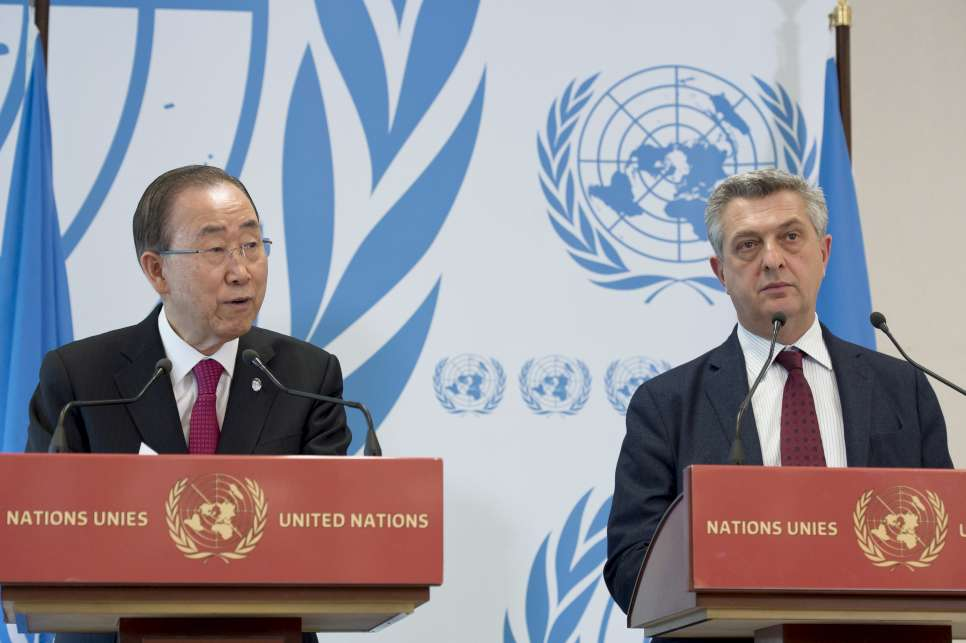 Secretary-General, Ban Ki-moon ( left ) with Filippo Grandi ( right ) United Nations, High Commissioner for Refugees speak at a press event after the opening of the High-Level Meeting on global responsibility sharing through pathways for admission of Syrian refugees.