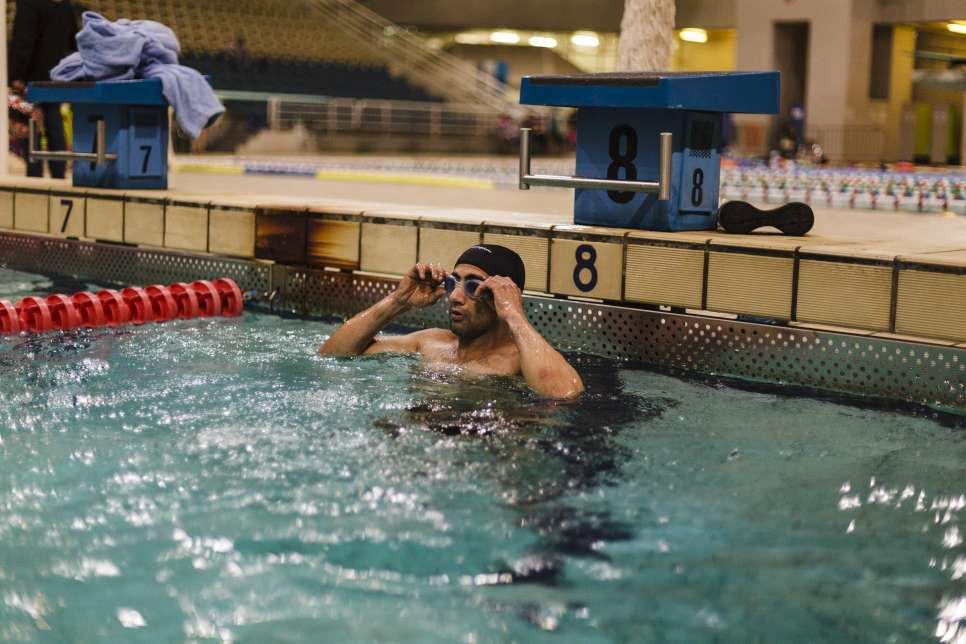 Ibrahim swims three days each week with ALMA, a Greek non-profit organization for athletes with disabilities.