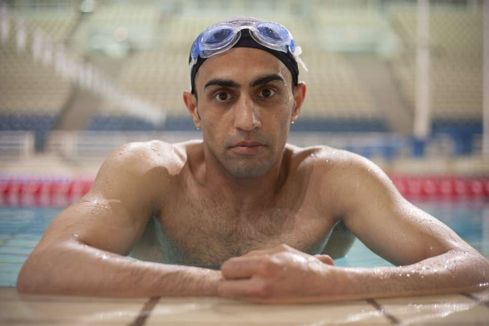 Even when he worked full-time as an electrician in Syria, Ibrahim swam competitively.