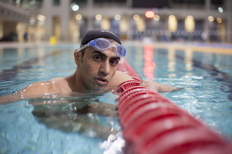 Ibrahim al-Hussein, 27, during a swimming training session in Athens.