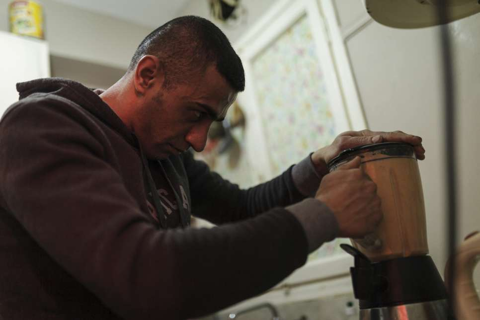 Ibrahim makes a protein-rich blend which he drinks each day before going to train.