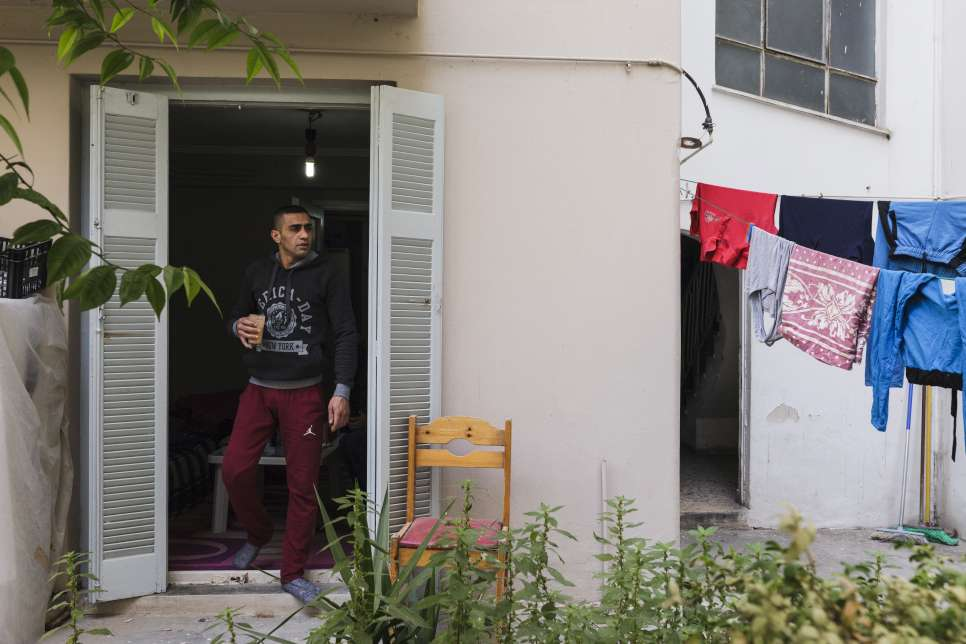 Ibrahim lives alone in a flat with a small garden in central Athens, and pays the rent without assistance.