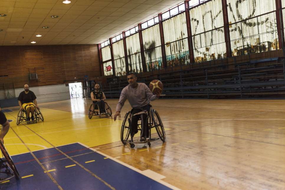 Ibrahim is part of a wheelchair basketball team that meets five times a week and plays throughout the country.