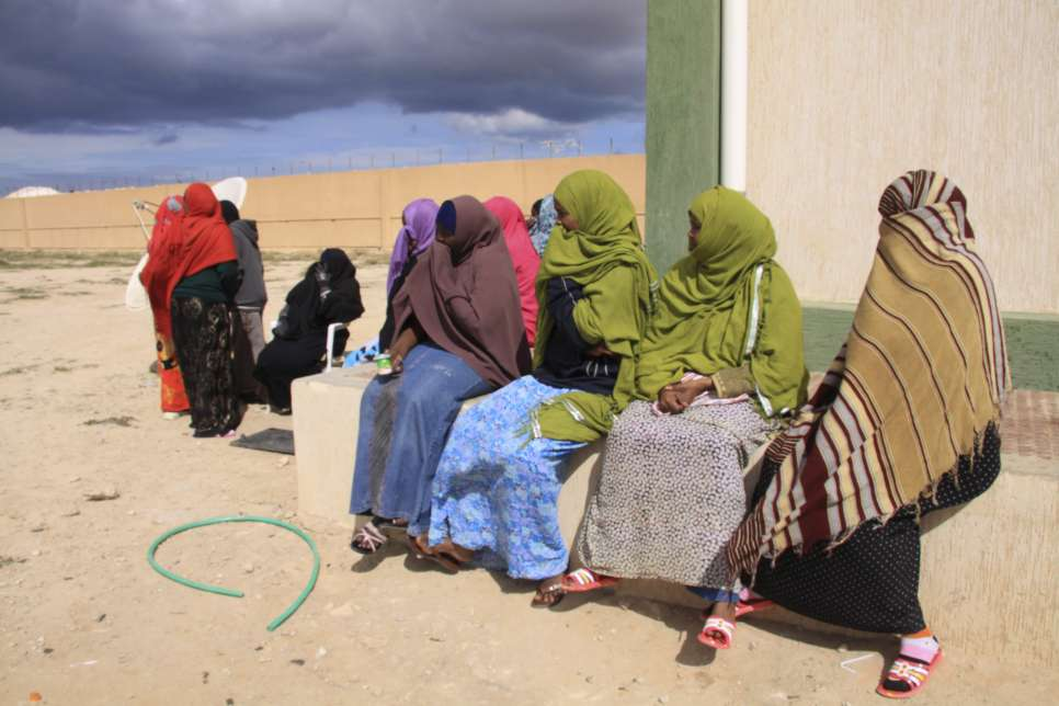 Libya / A colourful group of Somali women in the Benghazi detention centre, where they are being held after making the long, dangerous overland journey to Libya.