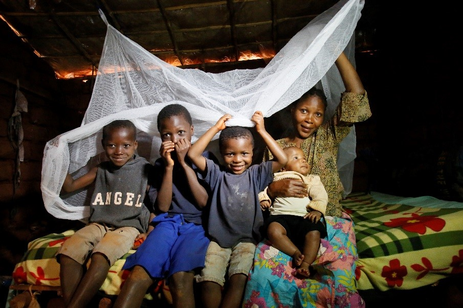 Mosquito nets distributed with the support of the UN Foundation's Nothing But Nets campaign in the Nyarugusu Refugee Camp in Tanzania