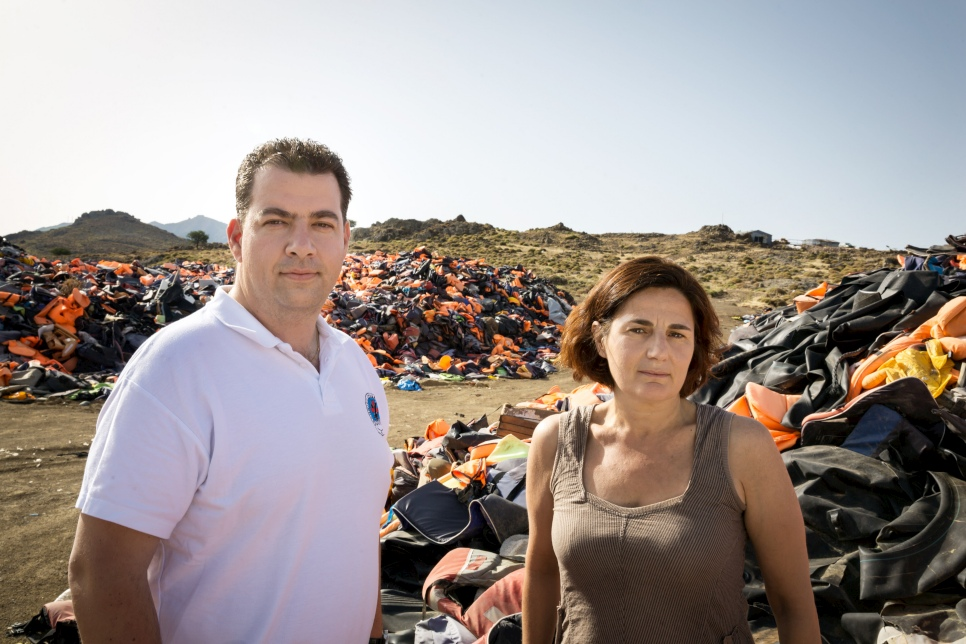 Greece. Winners of UNHCR's Nansen Award 2016, Efi Latsoudi and Konstantinos Mitragas
