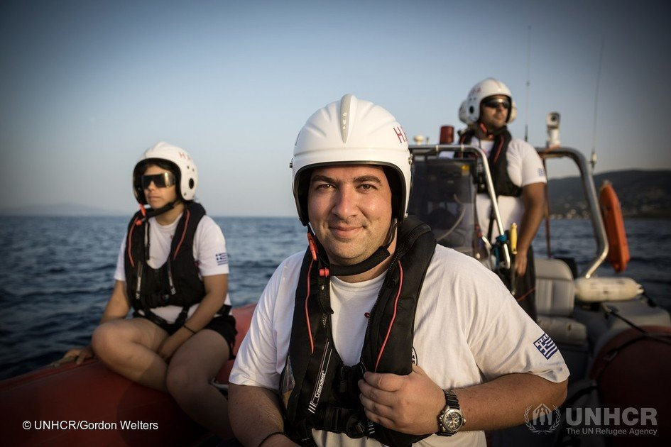 "2016 - Konstantinos Mitragas on behalf of the Hellenic Rescue Team and Efi Latsoudi, a human rights activist behind ""PIKPA village"" on the Greek island of Lesvos, are joint winners of UNHCR's Nansen Award 2016. The award recognizes their tireless efforts to aid refugee arrivals in Greece during 2015."