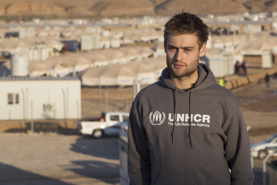 """Hello. I'm Douglas Booth. Last year I travelled to the Greek island of Lesvos with UNHCR and met refugees who felt they had no option but to make the treacherous sea crossing to Europe in order to find a safer future. I wanted to understand more about the situation being faced by people around the world who are forced to flee their homes because of conflict. I came here to Iraq to meet with Syrian refugees as well as Iraqis recently displaced by the fighting in Mosul – 10,000 of whom now live in Hasamsham camp behind me. 