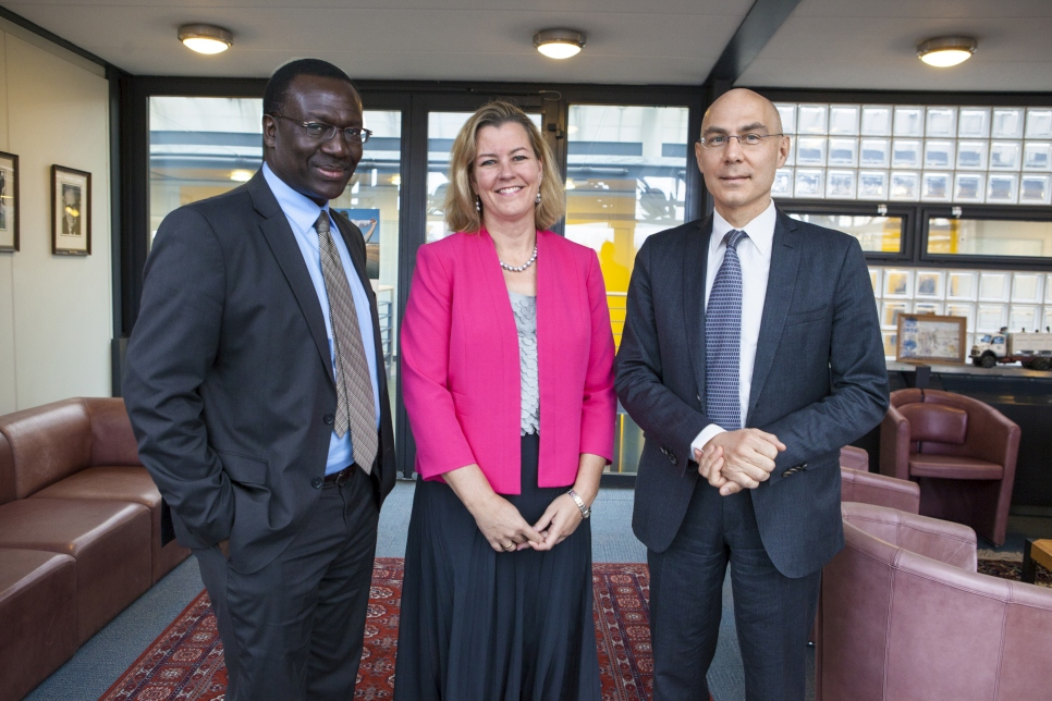 (L-R) Assistant High Commissioner of Operations, George Okoth-Obbo, Deputy High Commissioner, Kelly Clements and Assistant High Commissioner of Protection, Volker Turk