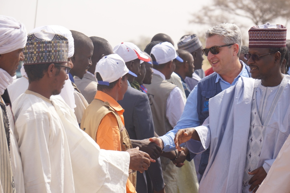 UN High Commissioner for Refugees Filippo Grandi meets displaced people in Diffa, Niger.