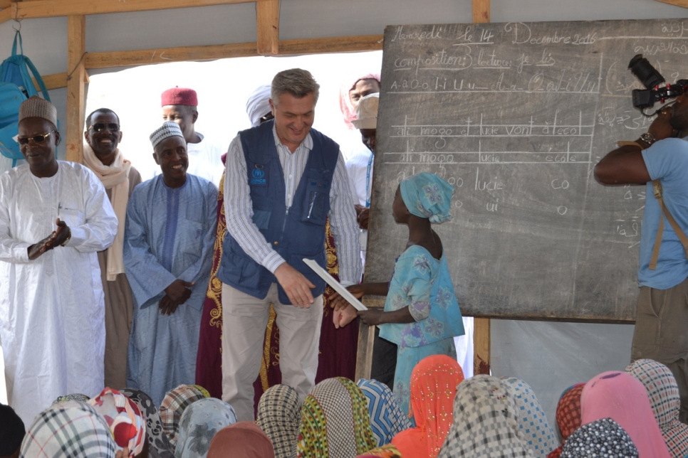Chad. High Commissioner for Refugees Filippo Grandi visits Baga Sola