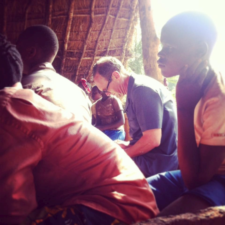 AA Gill with young victims of the LRA in Dungu, Northern DR Congo