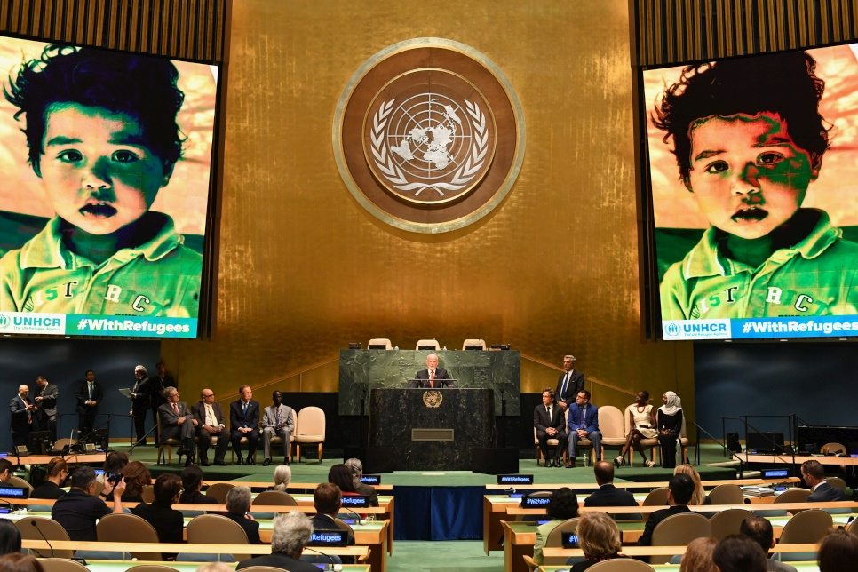 UN General Assembly President Peter Thomson address the UN General Assembly in 2016 during the presentation of a UNHCR petition, #WithRefugees, requesting better safety, education and work conditions for millions of refugees around the world.