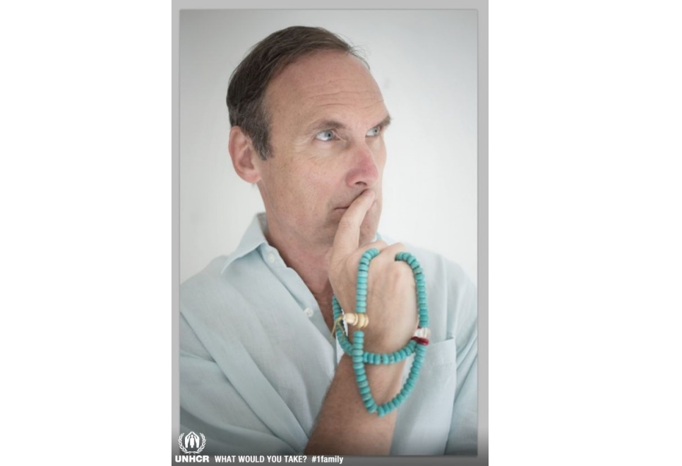 AA Gill with the one item he would take if forced to flee his home: prayer beads from Bhutan.