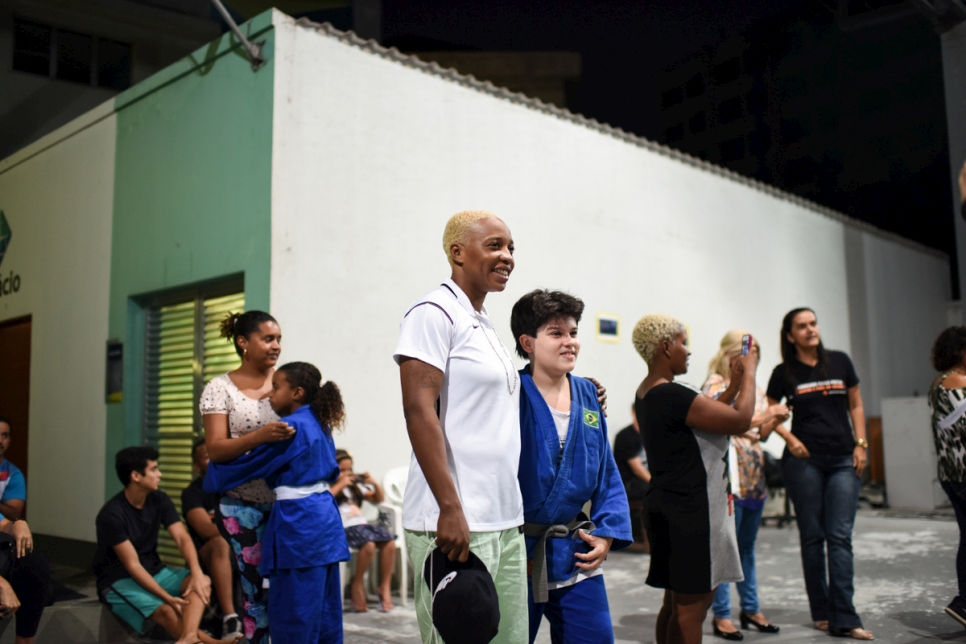 Brazil. A Congolese judoka inspires young kids