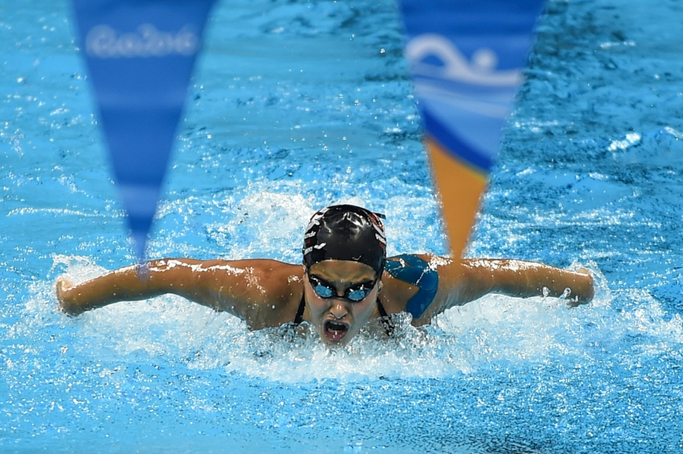 Brazil. Syrian refugee swimmer, Yusra Mardini, trains hard at the Olympic pool
