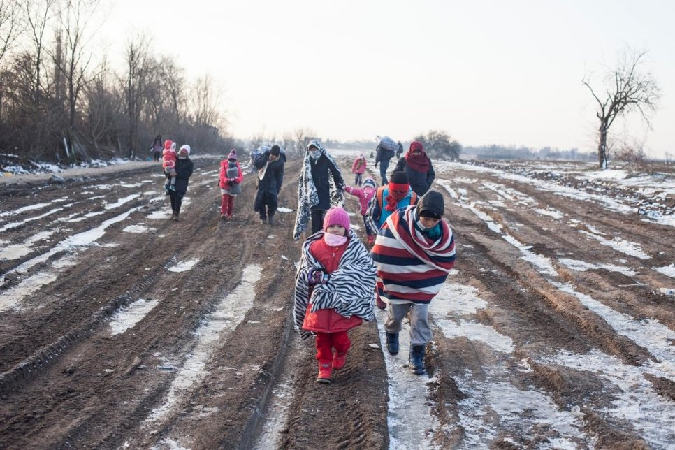 Serbia. Refugees experience freezing temperatures in Balkans