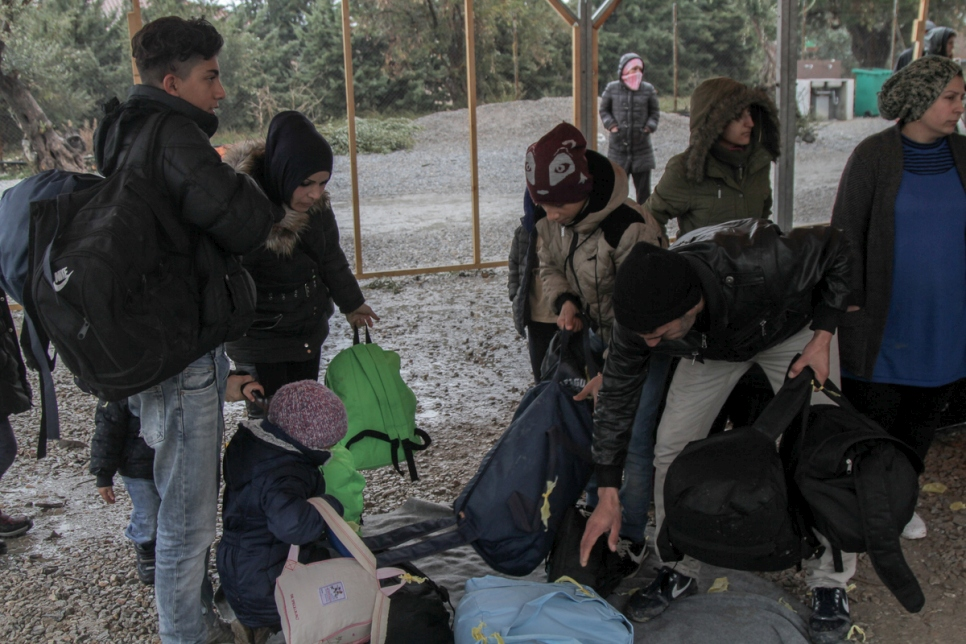 Greece. As heavy snow falls on Lesvos vulnerable refugees are moved to warm accommodation