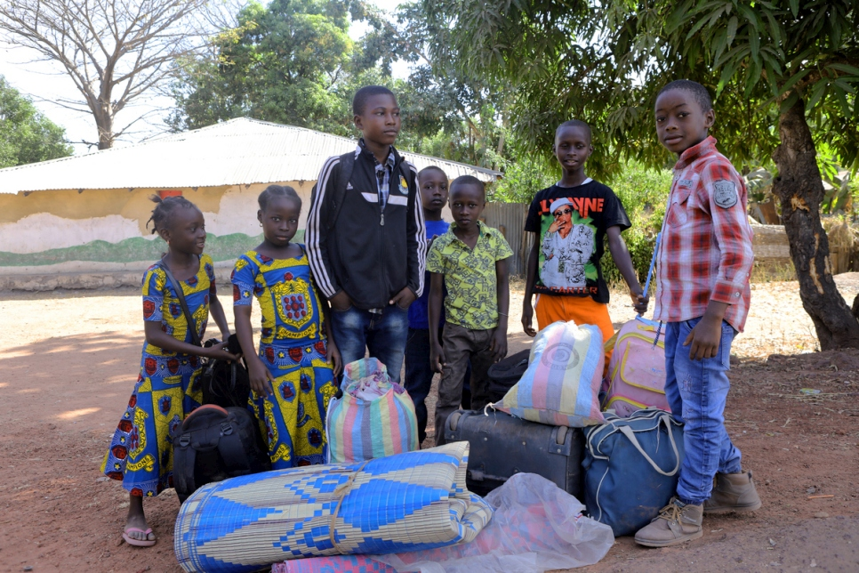 The Gambia. Children return home to the Gambia after weeks in exile in Senegal