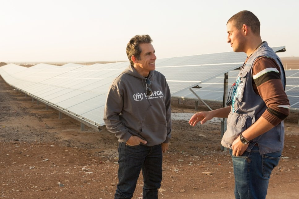 Ben learns how UNHCR plans to use clean energy to power life for refugees in Azraq camp. The solar panels were funded by IKEA Foundation to provide electricity.