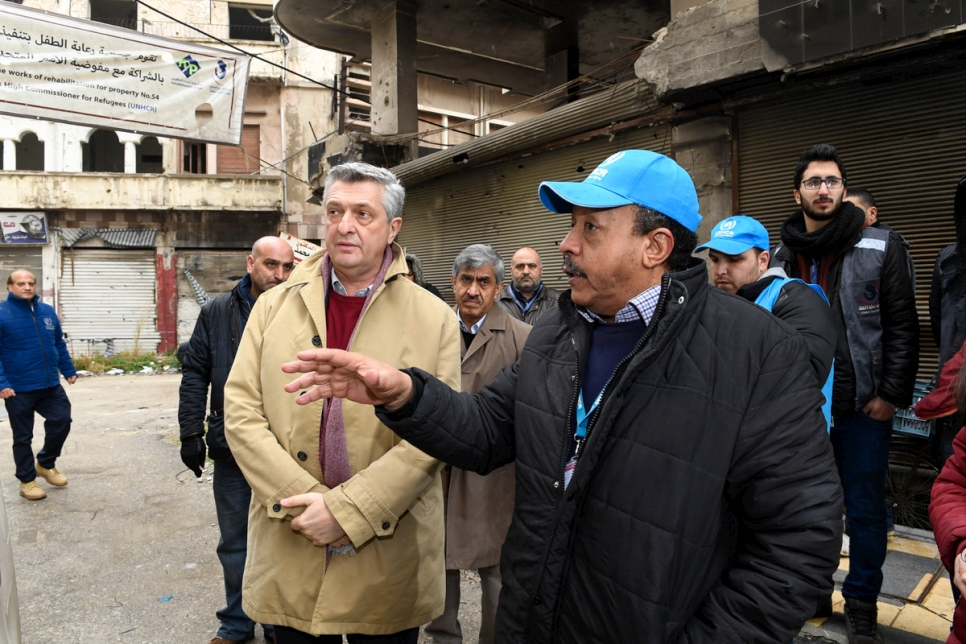 Syria. UN High Commissioner for Refugees meets internally displaced Syrians in Homs