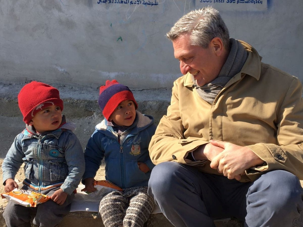Syria.  UN High Commissioner for Refugees visits Aleppo's Jibreen shelter