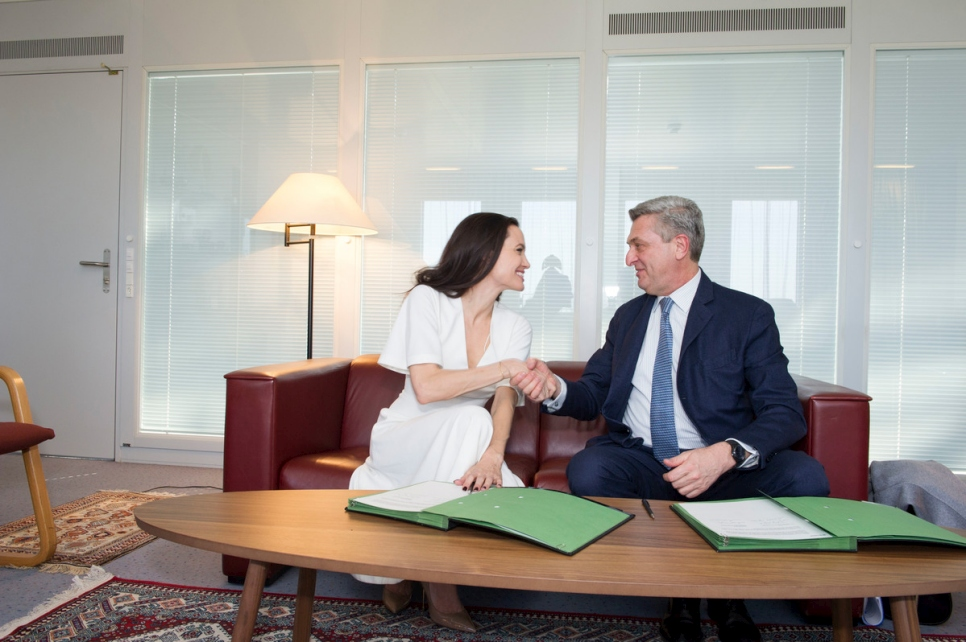 Switzerland. UN High Commissioner for Refugees Filippo Grandi meets with UNHCR Special Envoy Angelina Jolie.