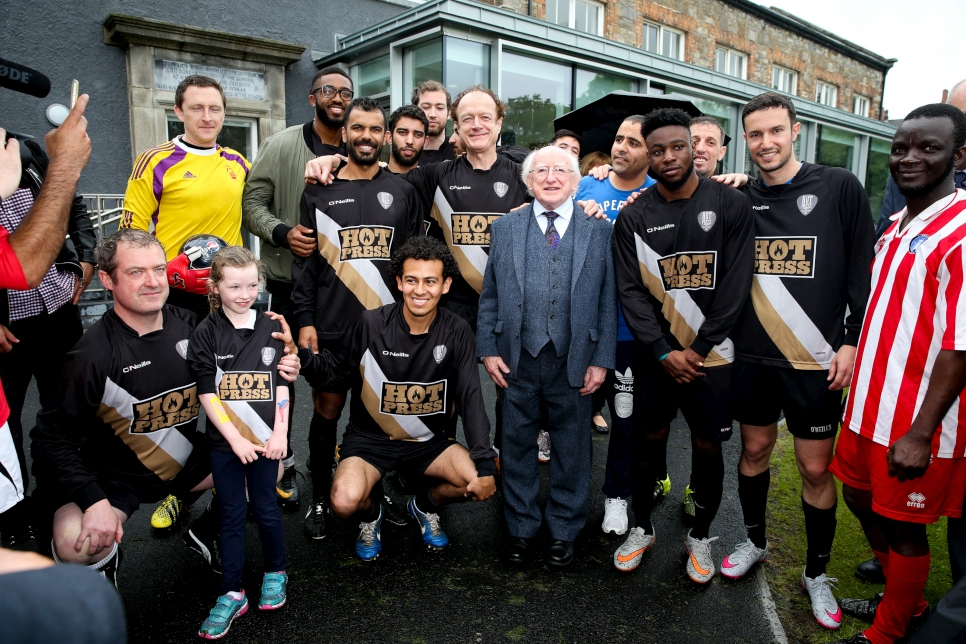 President Michael D Higgins at the World Refugee Day, Fair Play Football Cup 2016 in Dublin, Ireland