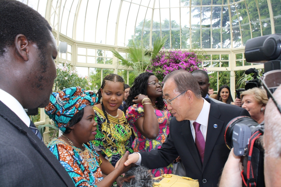 Former UN Secretary General Ban Ki-moon with people originally resettled as refugees to Ireland.