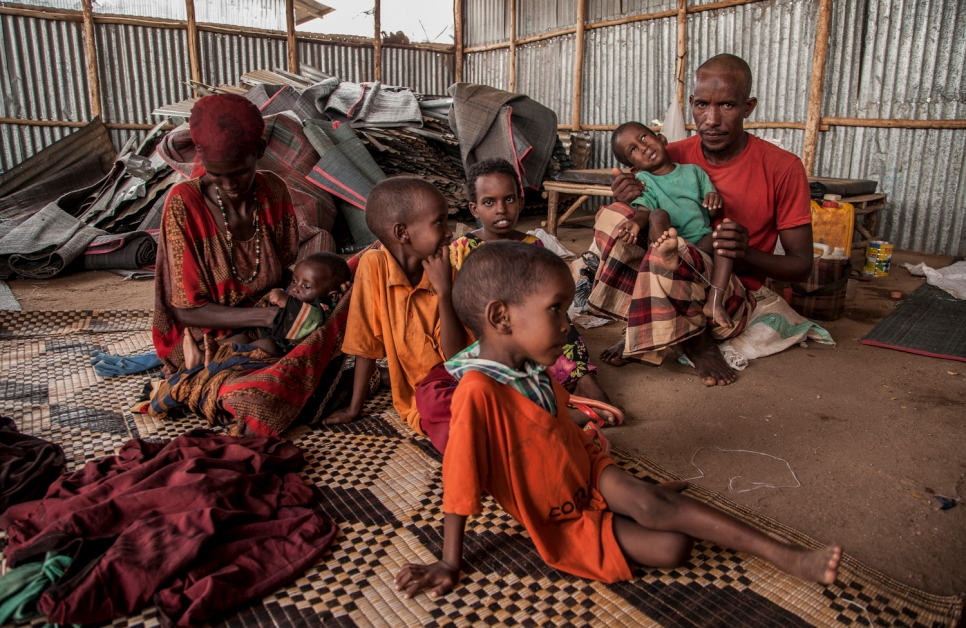Ethiopia. Ali Said and his family sit in the Reception Centre for refugees in Ethiopia