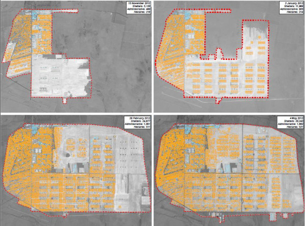 A detailed plan which shows how Zaatari camp has expanded in the six months between November 2012 and May 2013