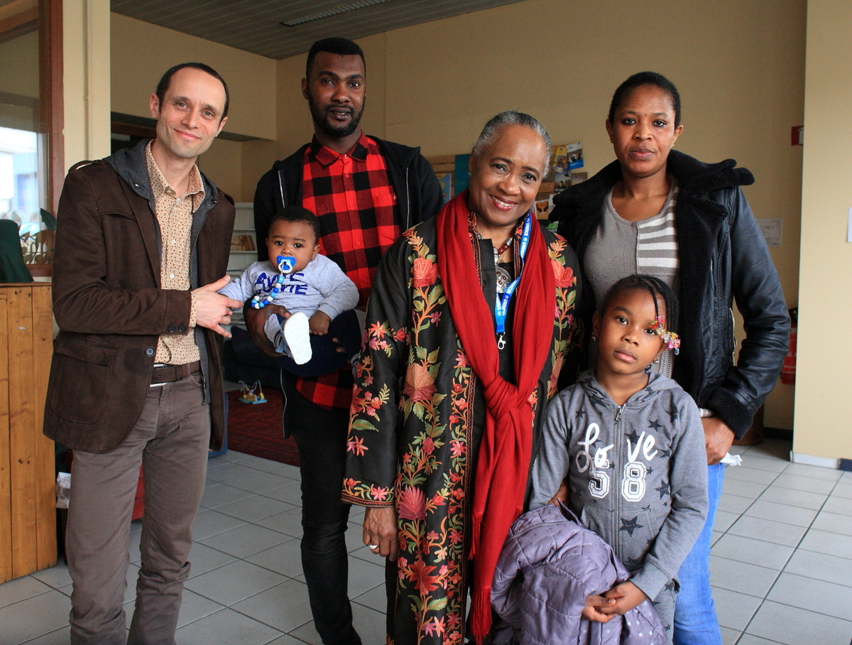 Belgium. Honorary Lifetime Goodwill Ambassador Barbara Hendricks visits refugees in Brussels