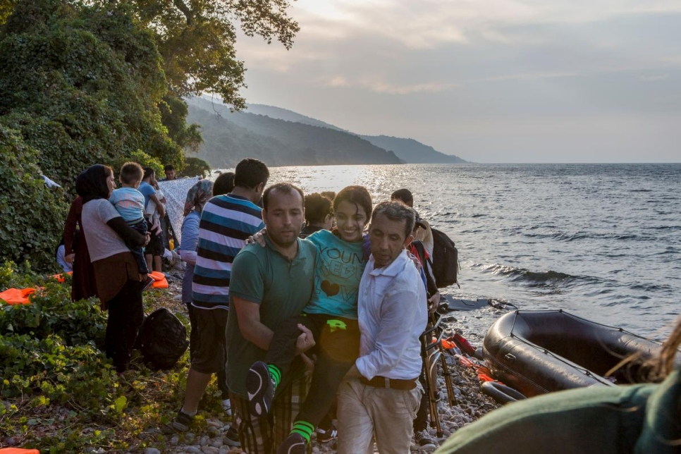 Greece. Refugees arrive on the Island of Lesbos after crossing the Aegean from Turkey