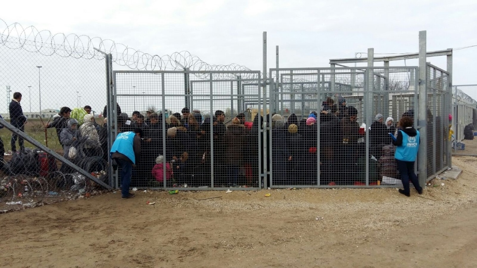 Asylum-seekers at the Hungarian border, waiting to enter the transit zone, where they will be detained for the duration of their asylum procedure.