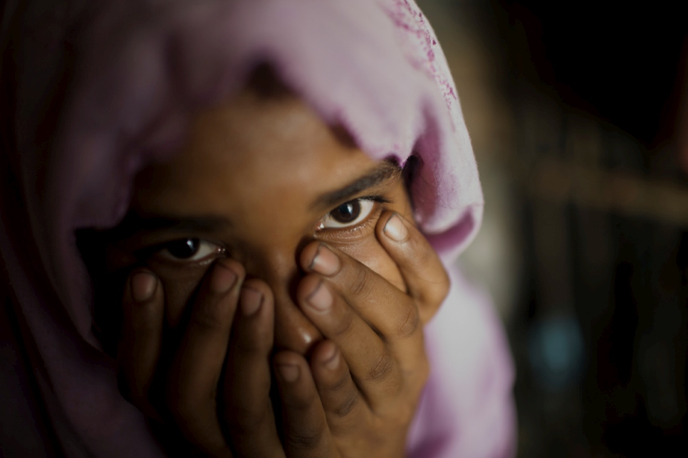 Hasina* is 17 years old and from a village near Maungdaw in northern part of Rakhine state, Myanmar. In mid-October 2016, her village was attacked during the security operations. When armed men tried to take her away, her brother tried to stop them and was shot dead. *Name changed for protection reasons