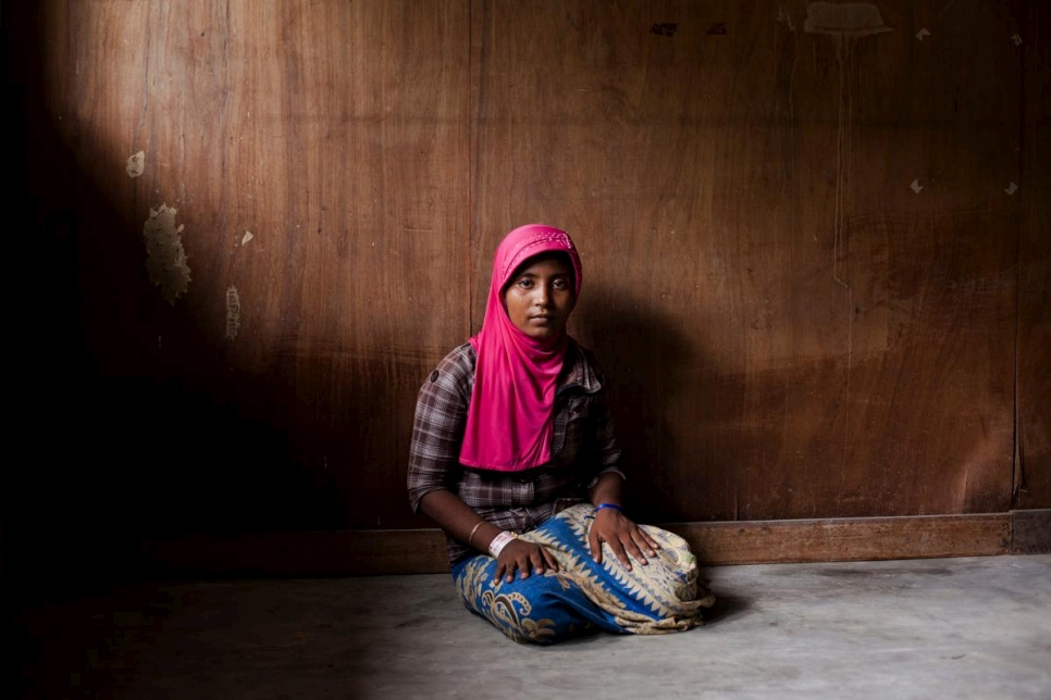 A Rohingya refugee from Myanmar at a temporary shelter in Bayeun, East Aceh, Indonesia, in 2015.