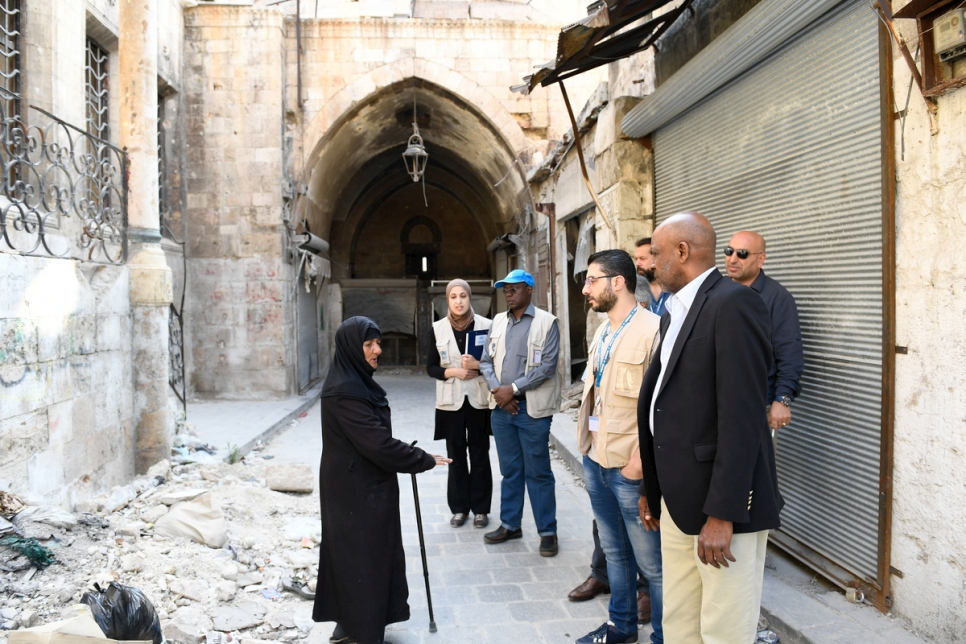 Syria. UNHCR's Director for the Middle East and North Africa, Amin Awad visits Aleppo