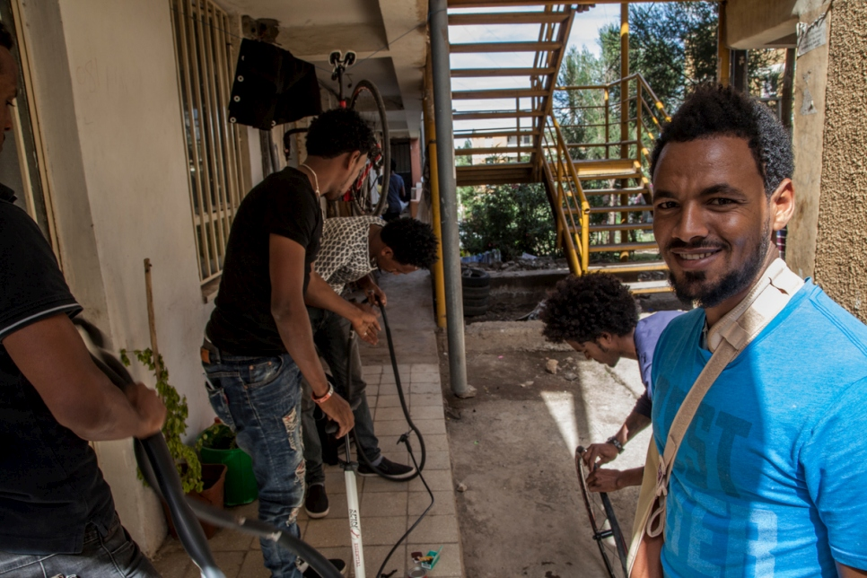 Ethiopia. Filimon and his team do maintenance on their bikes