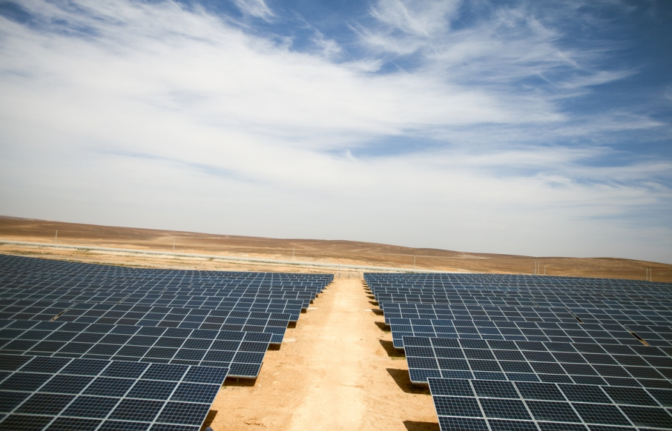 Jordan. The solar power plant in Azraq refugee camp