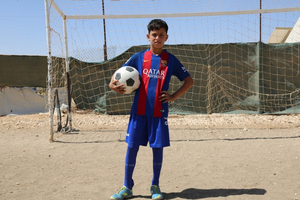 FCB supporter at Football training in Za'atari Refugee Camp