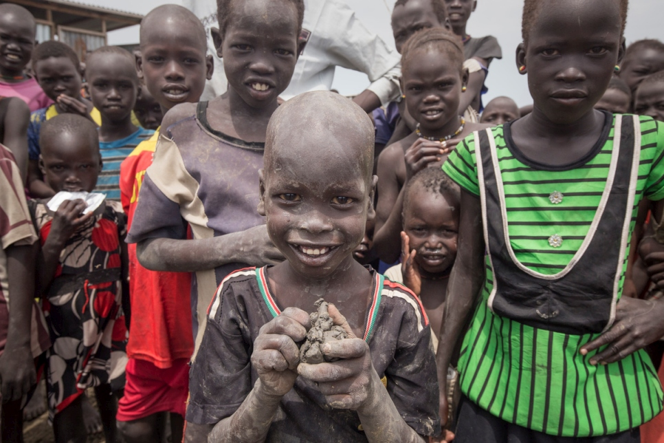 A group of children play at at a site for displaced people in Bentiu, South Sudan.
