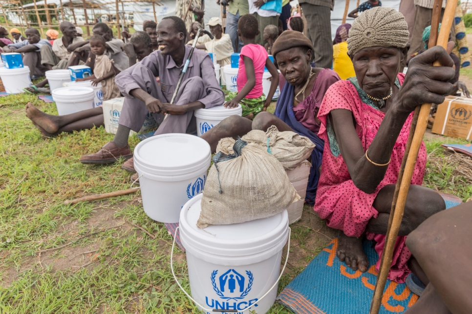 Internally displaced people after a distribution at a site in Bentiu, South Sudan.