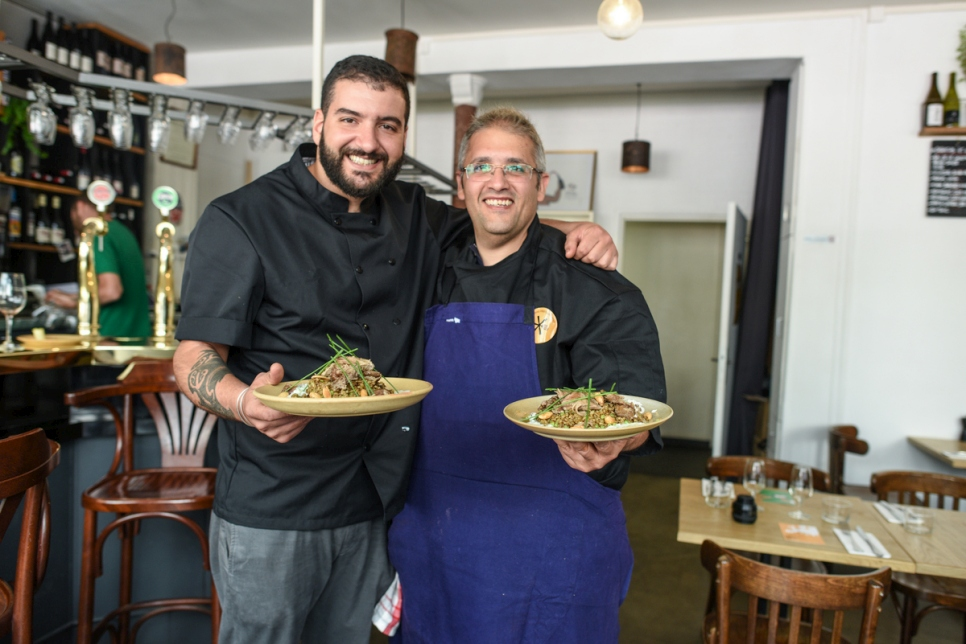 European Refugee Food Festival on june 16th in Pantin with syrian refugee Chef Nabil Attar cooking with french chef Walid Sahed at Les Pantins restaurant.