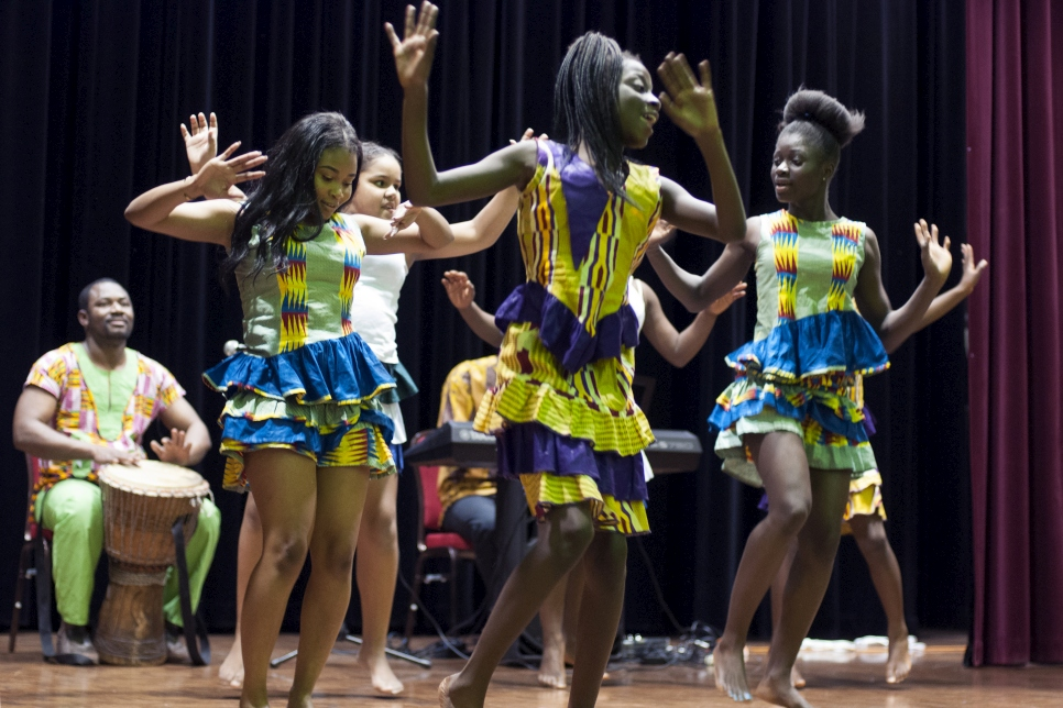 The West African Children's Cultural Dance Group perform in Canberra, Australia for World Refugee Day.