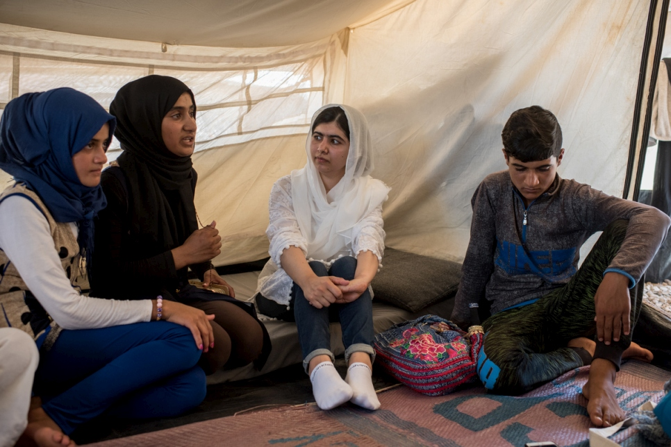Iraq. Nobel Peace Prize winner says access to education is needed to protect displaced children both now and in the future.