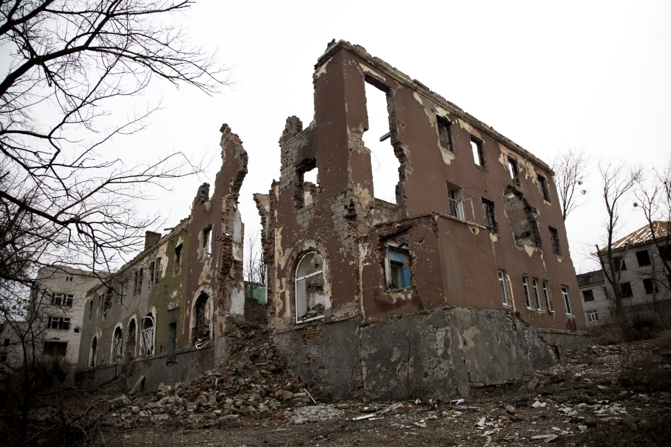 A former hospital in Slovyansk, which was heavily damaged during the conflict.