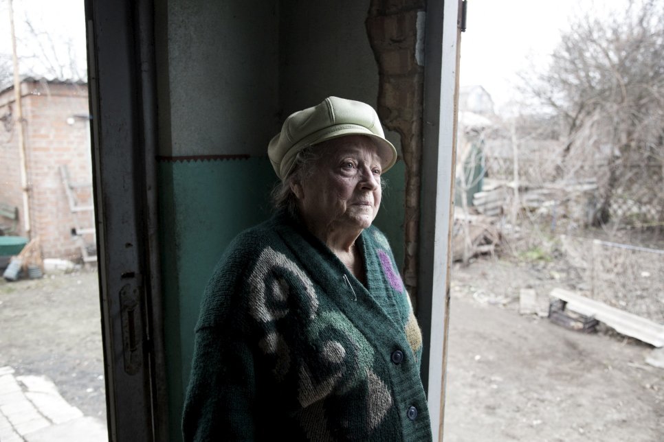 Helena's portrait of Vera, an 80-year old former schoolteacher. When her house was shelled during the conflict in 2014 she had an extremely lucky escape, as her bedroom was completely destroyed moments after she got up from bed. She has now returned to her home - which she originally bought in 1969 with her late husband - following repair work by UNHCR and partners.