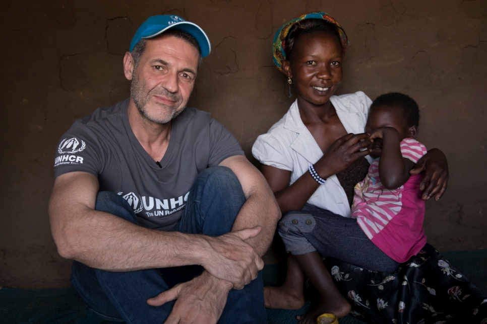 UNHCR Goodwill Ambassdor Khaled Hosseini meets South Sudanese refugee Aisha in Bidibidi refugee settlement. Aisha is a single mother who looks after five children.