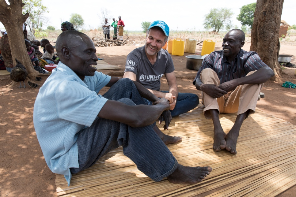 UNHCR Goodwill Ambassador Khaled Hosseini meets South Sudanese refugees in Uganda.